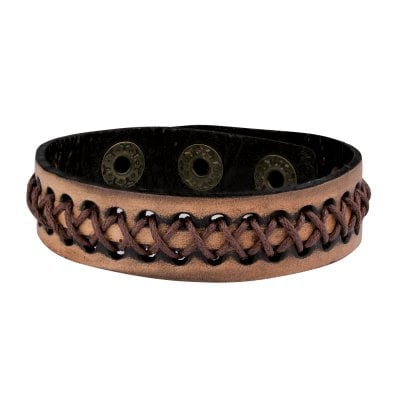 Brown leather bracelet with braid 1