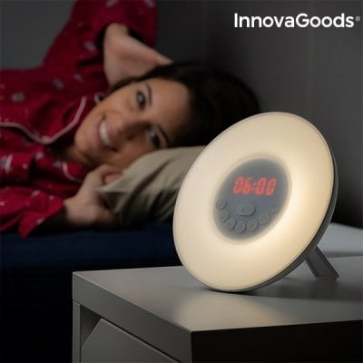 InnovaGoods Sunrise Simulator Alarm Clock LED FM USB White