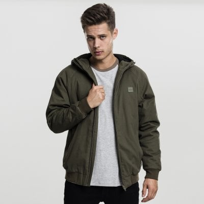 Warm lined cotton jacket with hood olive front