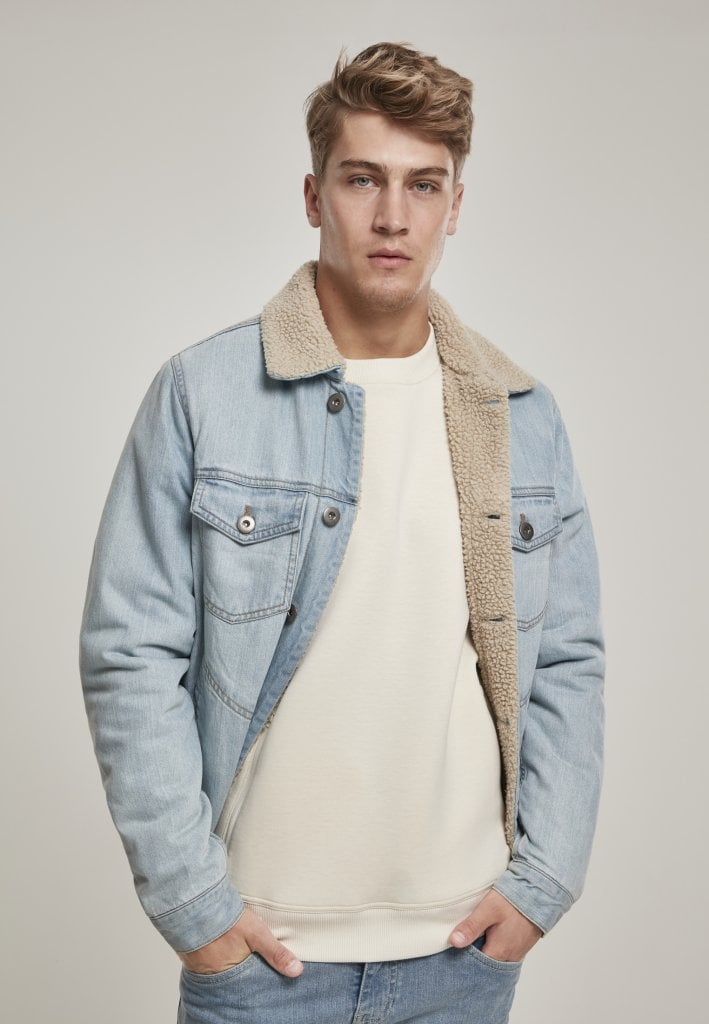 Lined jeans jacket light blue Jackets Mens