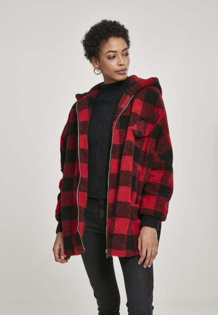 Checkered oversize sherpa jacket Jackets Womens